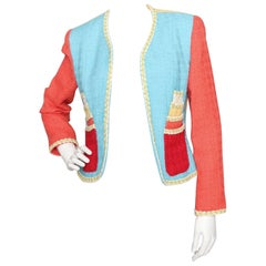 A Fun 1990s Vintage Cheap & Chic by Moschino Novelty Wool Blazer S