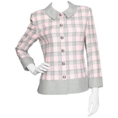 A 1970s Vintage Courrèges Baby Pink & Grey Wool Check Blazer S
