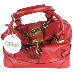 Chloe Red Over sized Leather Padington Handbag New, Never Used