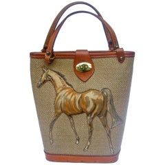 1960s Burlap Cloth Quilted Equine Leather Trim Handbag