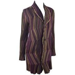 Vintage Issey Miyake Jacket Black with Stripes in Vibrant Colors