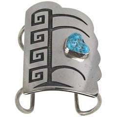 Native American Pawn Hopi Sterling Silver Turquoise Shield Bracelet Cuff