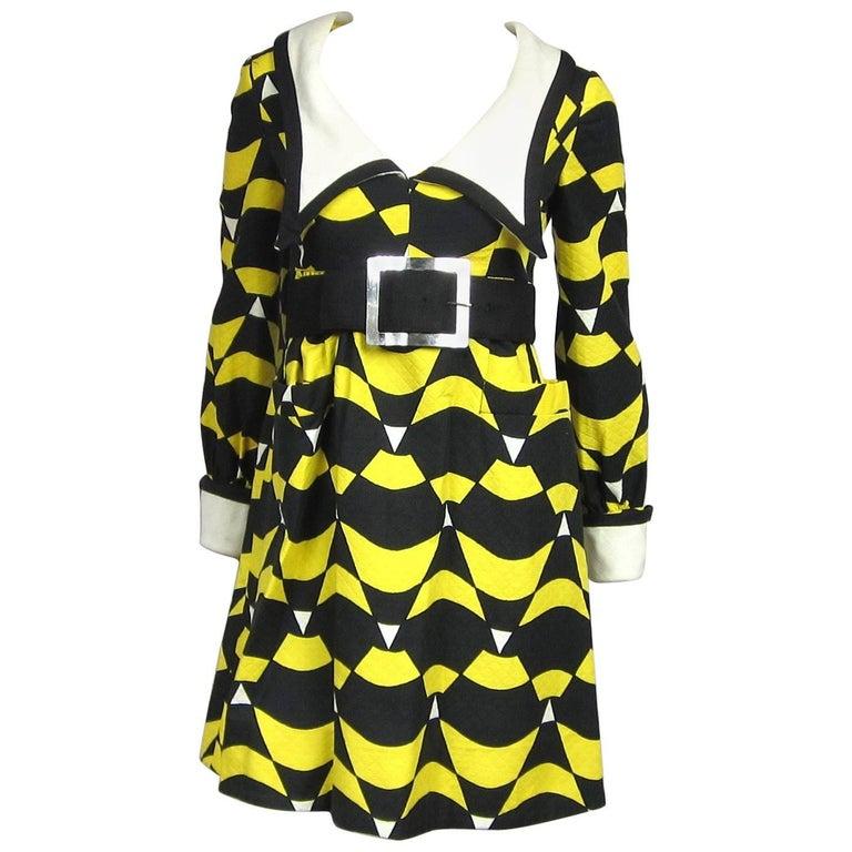 1960s Mod Graphic Empire waist Yellow Black Midi Dress Mam'selle Betty Carol