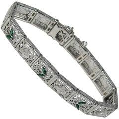 Antique Art Deco Diamond 14-Karat White Gold Bracelet