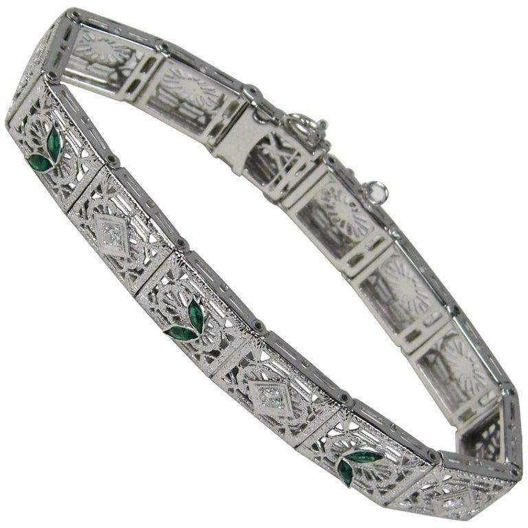 da9184c727e8 Antique Art Deco Diamond 14-Karat White Gold Bracelet For Sale at ...