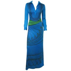 Electric Blue Green Vintage 1970s Graphic Maxi Dress