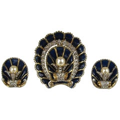 Antique 1940s Sterling Silver Enamel Coat Clip Pin- Brooch with Earrings