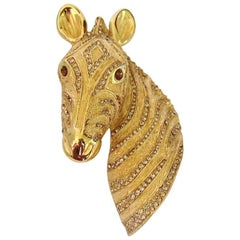 1980s Ciner Horse Head Pin Brooch with Swarovski Crystals New, Never Worn