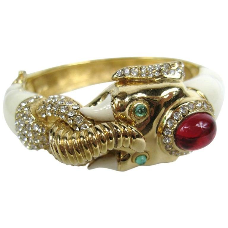 65aa2d5aba2 1980s Ciner Gilt Gold swarovski crystal Enamel Mogul Elephant Bracelet For  Sale