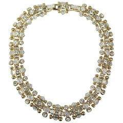 "1980s ""Jeweler's Collection"" Swarovski Crystal Gold Gilt Choker Necklace New"