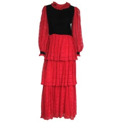 1970s Givenchy Red & Black Ruffled Tiered Gown