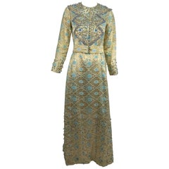 Tina Leser Original beaded gold metallic brocade maxi dress, 1960s