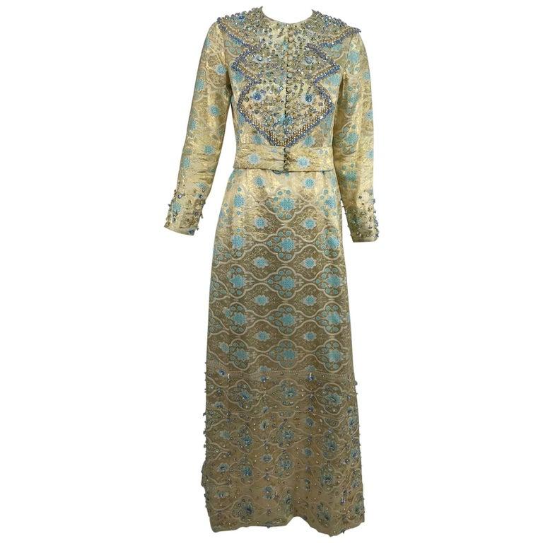 Tina Leser Original beaded gold metallic brocade maxi dress, 1960s