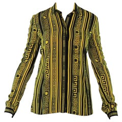 Versace Greek Key Printed 100% Silk Button Up Shirt