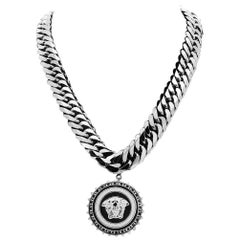VERSACE CRYSTAL EMBELLISHED SILVER CHAIN NECKLACE with MEDUSA CHARM