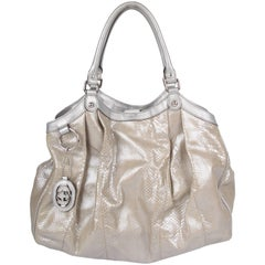 Gucci Sukey Tote Bag Python Large - silver