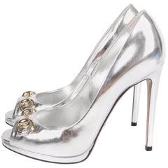 Gucci Peep-Toe Horsebit Pumps - silver