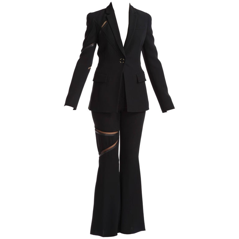 Versace Black 100% Silk Flared Leg Pant Suit