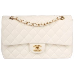 Chanel 2.55 Medium Classic Double Flap Bag - ivory white/gold