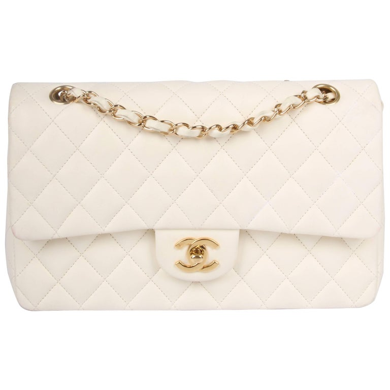 4ed3cfaef58be6 Chanel 2.55 Medium Classic Double Flap Bag - ivory white/gold at 1stdibs