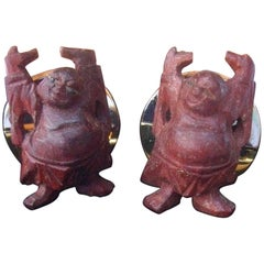 Pierre Cardin Carved Wood Buddha Cufflinks in Pierre Cardin Box c 1970s
