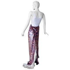 Maison Margiela Runway Tapestry Beaded Evening Skirt Gown