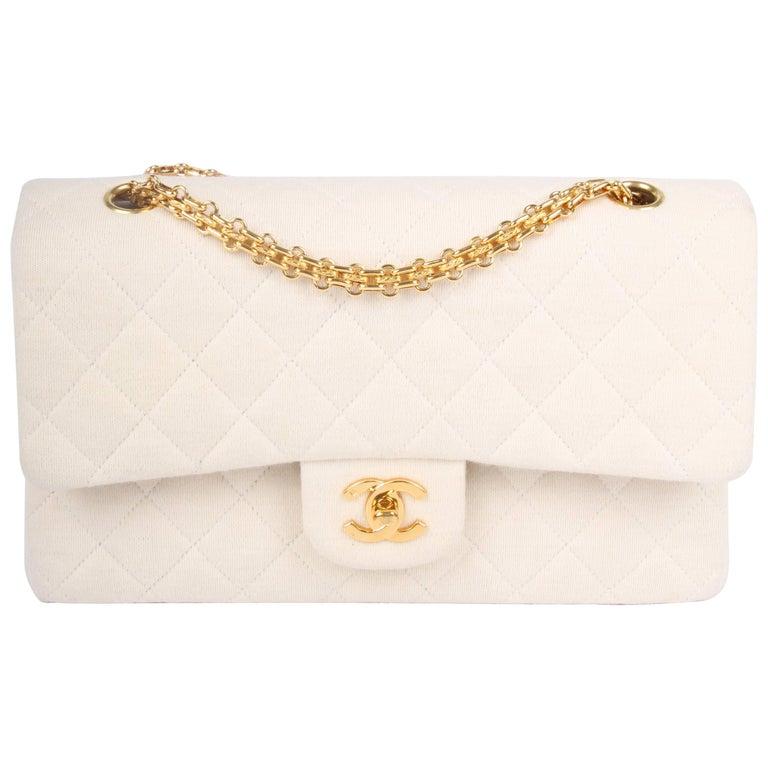 2c5e80e7ef4 Chanel 2.55 Reissue Medium Double Flap Bag Jersey - ivory white 1996 1997  For Sale