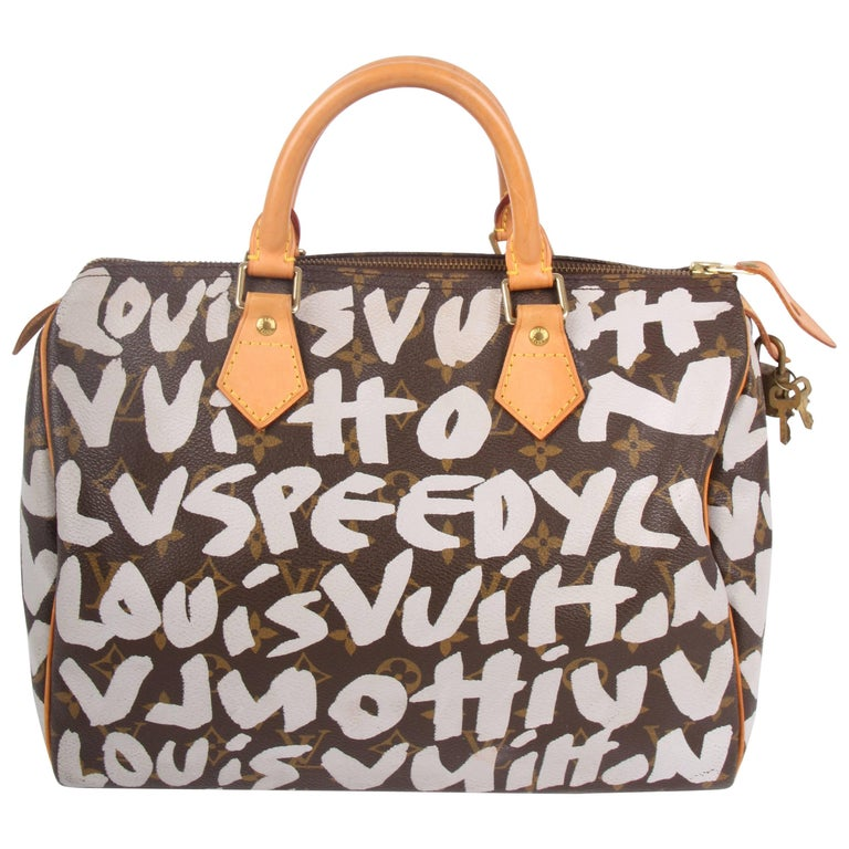 Louis Vuitton Limited Edition Silver Graffiti Stephen Sprouse Speedy 30 Bag