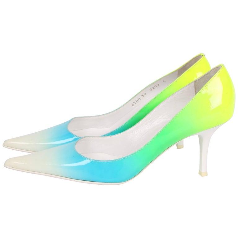 Giuseppe Zanotti Patent Leather Pumps - white/blue/green/yellow