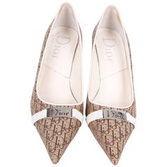 Dior Canvas Logo Pumps - brown/white