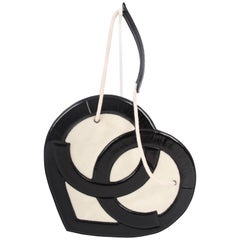 Chanel Heart Shape Bag Patent Leather Terry Cloth 2009 - black & white