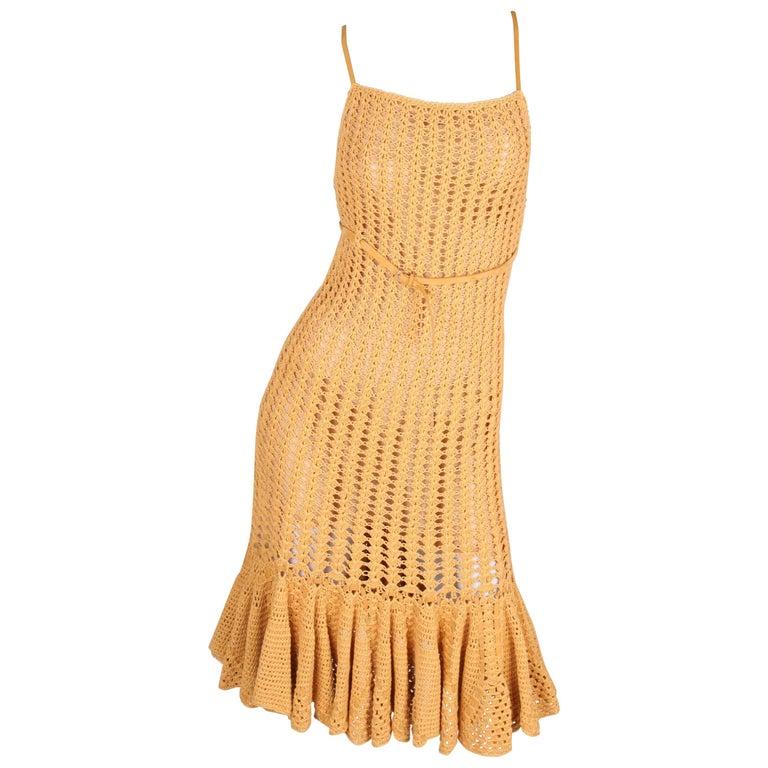 Salvatore Ferragamo Knitted Cotton Dress - mustard
