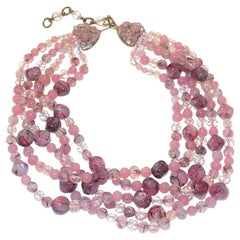 Stunning PINK Coppola e Toppo Venetian glass multi strand Necklace