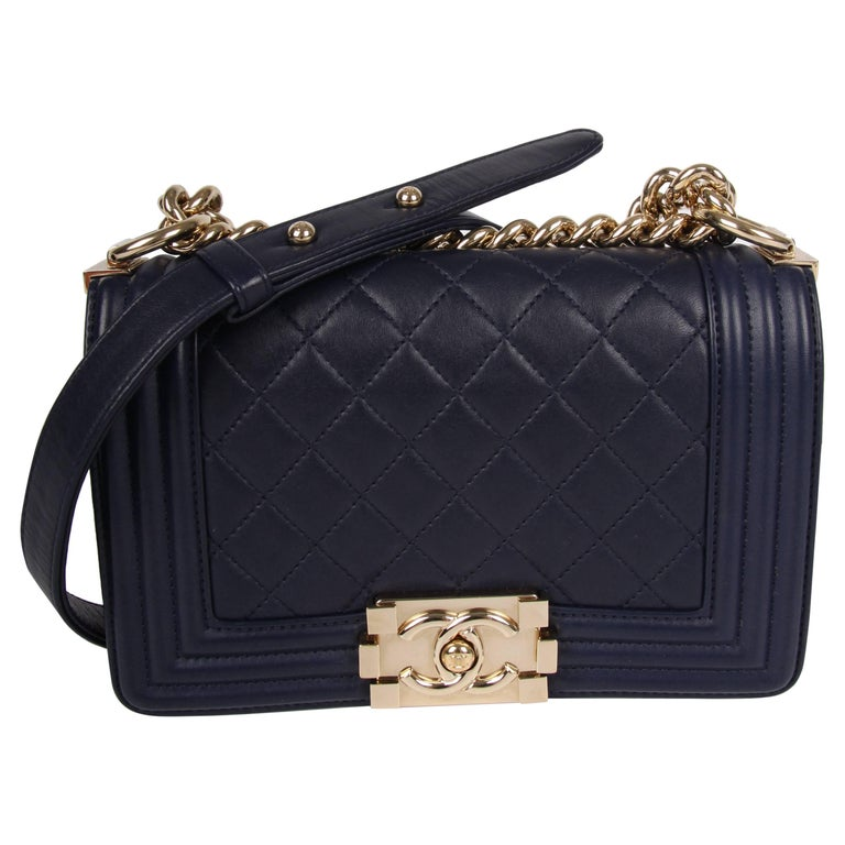 6410c7b87983 Chanel Boy Bag Mini - blue For Sale at 1stdibs