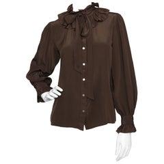 Yves Saint Laurent Rive Gauche Vintage Chocolate Brown Silk Blouse