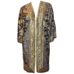 Nolan Miller Couture Beaded Black and Gold Lace coat  long Evening Jacket