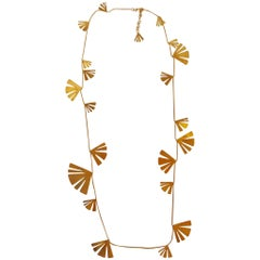 Herve van der Straeten Gilded Brass Fan Sautoir Necklace