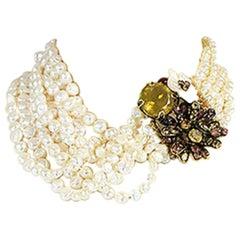 1990s Iradj Moini Multi-Strand Freshwater Pearl Choker Necklace
