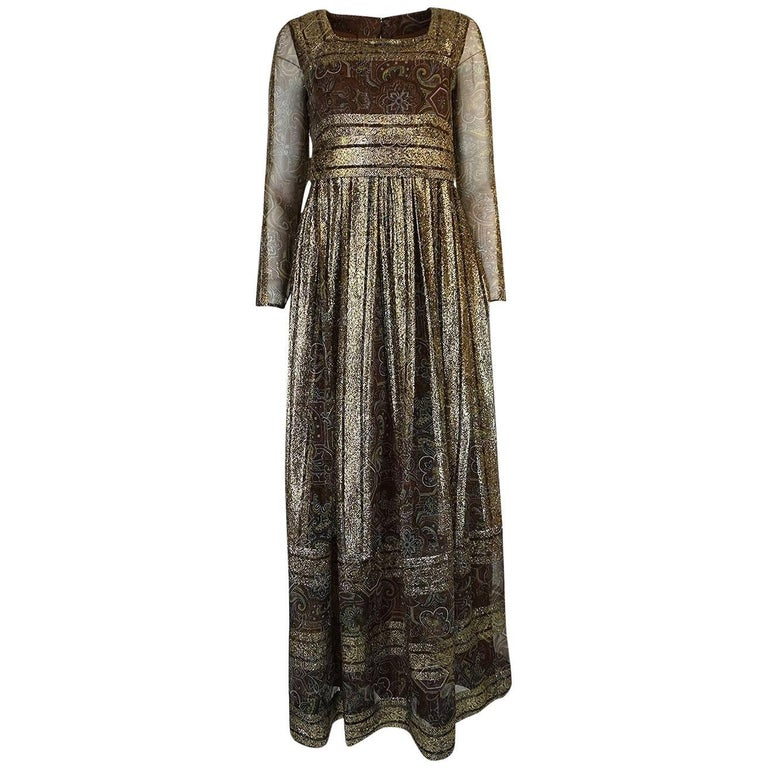 1970s Dior by Marc Bohan Demi-Couture Gold Metallic Dress