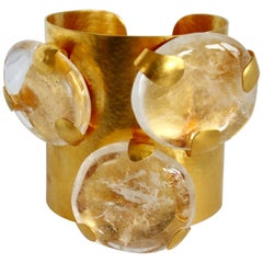 Herve van der Straeten Gilded Brass and Triple Rock Crystal Cuff