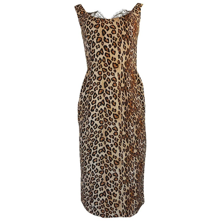 F/W 2005 Alexander McQueen Runway Leopard Print Dress For Sale