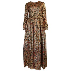 1960s Pat Sandler Gold Floral Print Metallic Maxi Dress