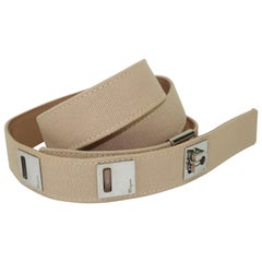 1980's Ferragamo Logo Safari Style Canvas Belt