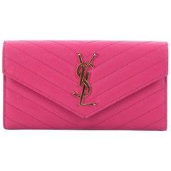 Saint Laurent Classic Monogram Flap Wallet Matelasse Chevron Leather Large