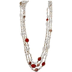 Goossens Paris Pink/Salmon Long Rock Crystal and Pearl Necklace