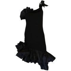1982 Yves Saint Laurent Black Ruffled One Shoulder Dress