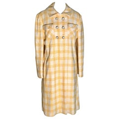 1960s Riva for Miss Magnin by I Magnin Yellow and White Plaid Vintage Coat