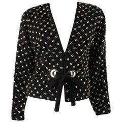 1980's Anne Klein Gold Studded Wool Jacket