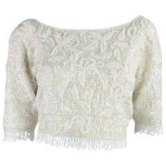 1950's Jo-Ro Imports Fully Beaded & Sequined Cropped Sweater