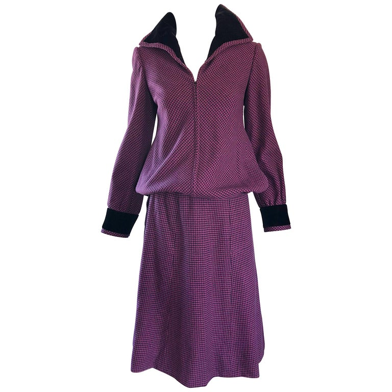 Cardinali 1970s Original Sample Purple + Black Checkered Vintage 70s Skirt Suit